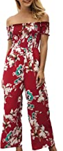ECOWISH Womens Jumpsuits Floral Print Off Shoulder Romper Casual Strapless Wide Leg Pants Jumpsuit White S