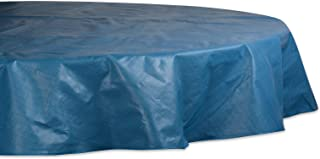 """J&M Home Fashions Solid Waterproof & Spill Proof Vinyl Tablecloth, 70"""" Round, Blue"""