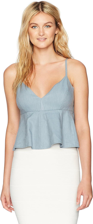 BCBGMAXAZRIA Womens Meaghan Cropped VNeck Ruffle Woven Sportswear Crop Top Tank Top Cami Shirt