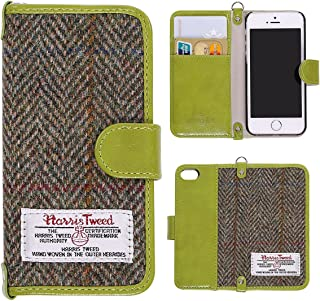 iPhone 5S Wallet Case, MONOJOY Harris Tweed Handmade Flip Folio Case Wallet Book Cover with Credit Card Slots, Magnetic Closure for iPhone SE/5S/5 4.7 inch (Green)