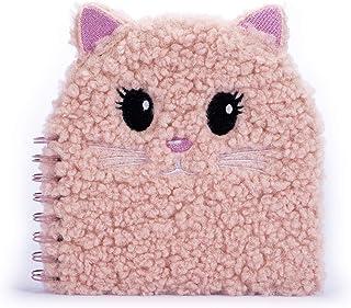 Tri-Coastal Design - Plysch spiralbunden inbunden stationär anteckningsbok för flickor täckt i konstgjord päls (söt katt)