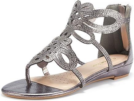 DREAM PAIRS Women's Jewel Rhinestones Design Ankle High Flat Sandals