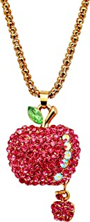 Uloveido Women Hot Pink Bling Crystal Rhinestone 3D Apple Pendant Sweater Chain Long Necklace Christmas Accessory Gifts Ideas for Girls YS856