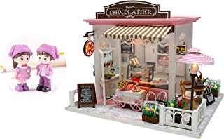 Cool Beans Boutique Miniature DIY Dollhouse Kit Wooden European Chocolatier and Confectionery Shop with Dolls and Musical Mechanism and Dust Cover - Architecture Model kit (English Manual) C007
