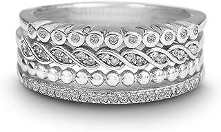 ديفين روز مطلي بالروديوم فضة استرليني 1/4 Cttw الماس خواتم كومة خاتم للنساء (لون IJ/وضوح I3)