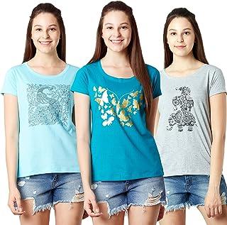 LAYA Women's Printed Multi-Color T-Shirt (Pack of 3)
