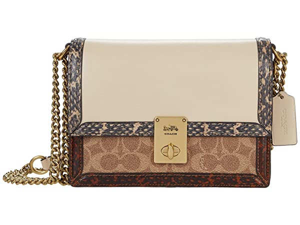 COACH Coated Canvas Signature with Snake Hutton Shoulder Bag