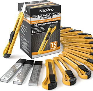Nicpro 15 PCS Utility Knives Plastic Box Cutters Bulk Retractable Razor Knife with 30 PCS Extra Snap Off Blades 18mm for Heavy Duty Office, Home, Arts Crafts, Hobby