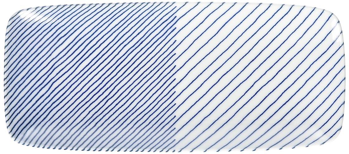 破産前奏曲可決白山陶器 長焼皿 青 (約)25×11cm  重ね縞 KASANEJIMA 波佐見焼 日本製