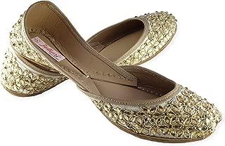 Fulkari Prime Daisy Women's Soft Leather Bite and Pinch Free Jutis |Punjabi Jutti Flat Ladies Mojari |Formal Ethnic Shoe