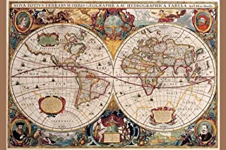 World Map 17th Century Antique Vintage Historic Educational Classroom Globe Projection Cool Wall Decor Art Print Poster 24x36