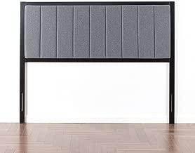 Zinus Anuar Banded Grey Upholstered Metal Headboard, King