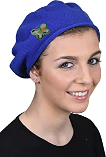 100% Cotton Beret French Ladies Hat with Army Butterfly Applique