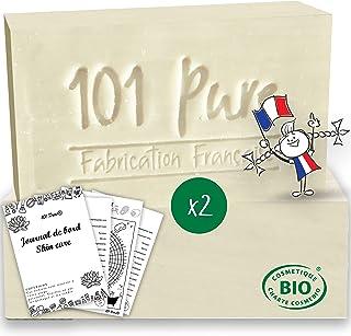 Savon Lait de Chèvre Bio (100g x 2) Peau Mixte - Fabrication Française - Nettoyant solide enrichi en Huile de Jojoba - Un ...