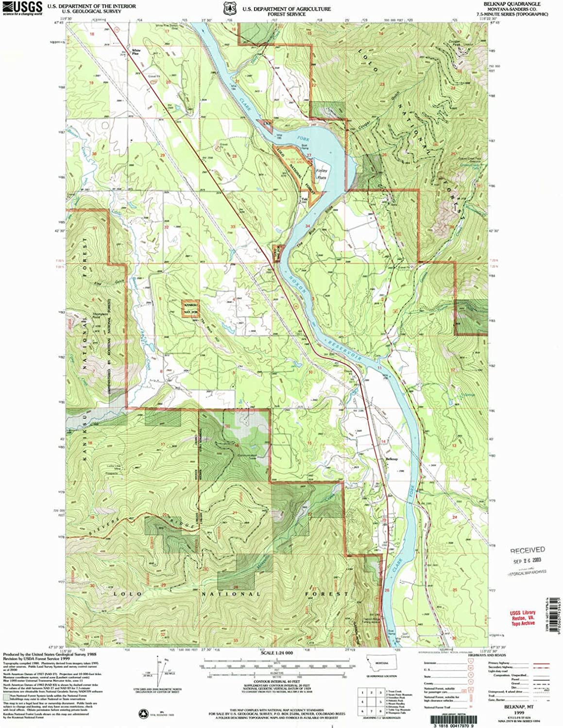 Belknap MT topo map, 1 24000 Scale, 7.5 X 7.5 Minute, Historical, 1999, Updated 2003, 27 x 22.1 in