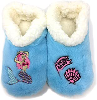 JYinstyle Women's Snug Aquatic Mermaid Gang Fuzzy Warm Indoor Slippers Blue N White Slippers M (Shoe Size 7/8) Anti-Slip Slippers, Fleece Plush Home Slippers