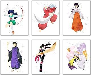Watercolor Inuyasha Poster Prints - Set of 6 (8x10) Glossy Shonen Anime Final Act Manga Wall Art Decor - Inuyasha - Kagome Higurashi - Sango - Miroku - Kikyo - Sesshomaru