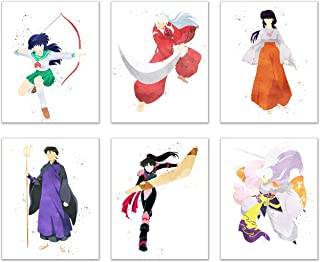 Watercolor Inuyasha Poster Prints - Set of 6 (8x10) Glossy Shonen Anime Final Act Manga Wall Art Decor - Inuyasha - Kagome Higurashi - Sango - Miroku - Kikyo - Sesshomaru