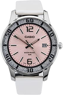 Casio Women's Quartz Watch, Analog Display and Leather Strap Ltp-1359Sl-4Avdf, Off-White Band