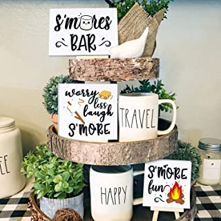 Huray Rayho Camping S'Mores Tiered Tray Decorations S'Mores Bar Sign Bonfire Campfire Wood Block Farmhouse Camping Theme 3...
