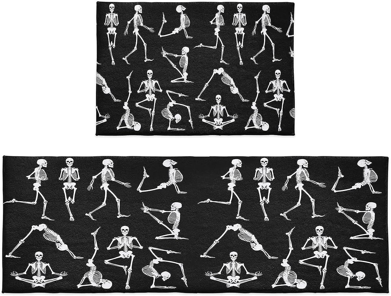 Kitchen Rug Sets Superlatite 2 Piece Excellent Halloween Sports Skeleton Skull Yoga Pl