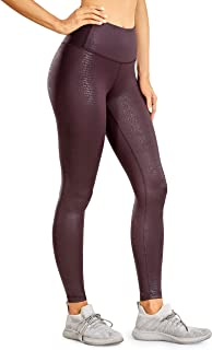 CRZ YOGA Women's High Waisted Faux Leather Legging Stretchy Pants Lightweight Workout Tights -28 Inches