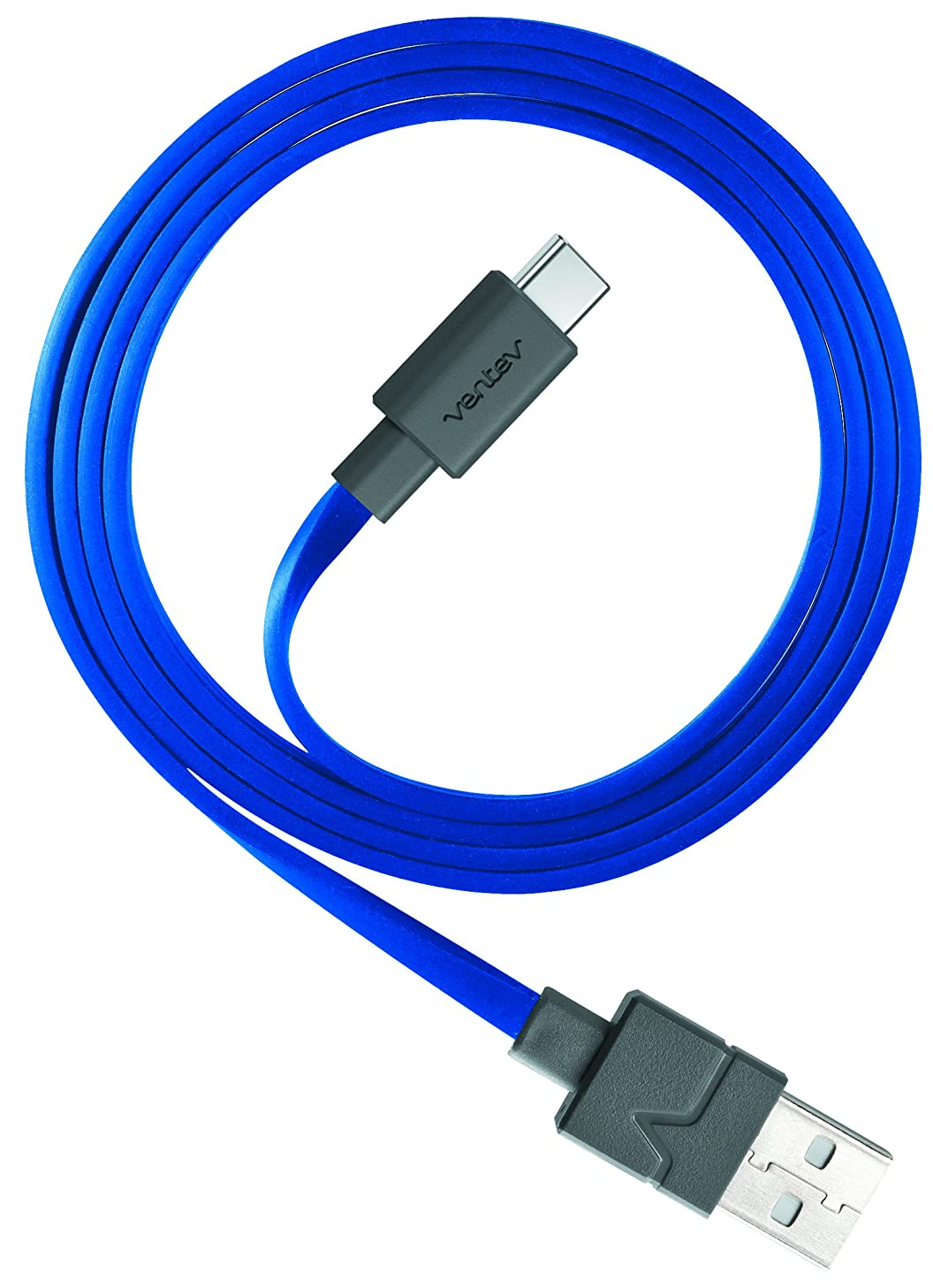 Ventev Chargesync USB Cable | Type A-C, Transfer from Device to Most PC or MAC, Flat, Tangle-Free Cable, Supports Rapid Rate Charging up to 3A, Cable for Samsung Galaxy TabPro S, LG G5 | 6ft Blue