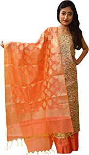 Yi YouthIconz - Inspiring Youth In You Women's Chanderi Silk Unstitched Embroidery Dress Material (5319_Cream_Free Size)