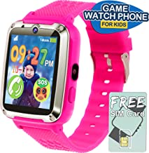 Kids Game Smartwatch -1.54'' Touch Kids Smart Watch Phone SIM Card 12/24 H, Electronic Xmas Holiday Gifts Toys Boys Girls Age 3-14 Toddler Wrist Watch Gizmos Camera SOS Alarm 【Extra 2 Battery】- Pink