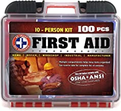 Be Smart Get Prepared 100Piece First Aid Kit, Exceeds OSHA Ansi Standards for 10 People - Office, Home, Car, School, Emerg...
