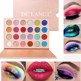 DE'LANCI Pressed Glitter Eyeshadow Palette - Professional Highly Pigmented and Long-Lasting Mineral Shimmer Makeup Pallet Eye Shadows Flash Color Waterproof Cosmetic Set(Cruelty Free,24 Color)