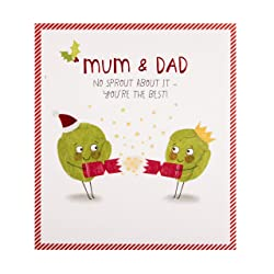 Christmas Card for Mum & Dad from Hallmark - Funny Sprout Design