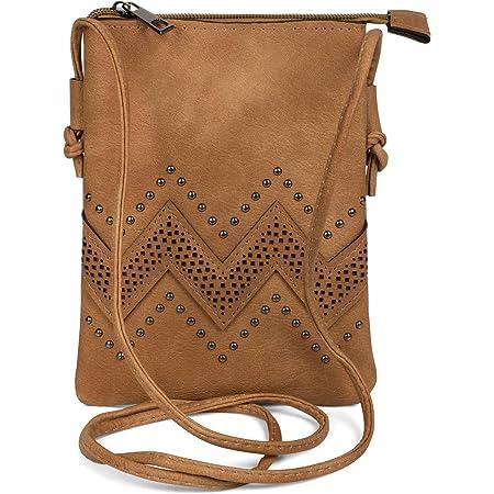 styleBREAKER Mini Bag Umhängetasche mit Zick-Zack Cutout und Nieten, Schultertasche, Handtasche, Tasche, Damen 02012211
