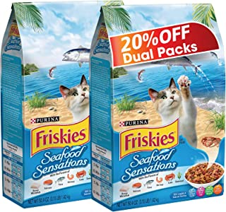 Purina Friskies Seafood Sensations Dry Cat Food Bag 1.43kg (2 Bags)