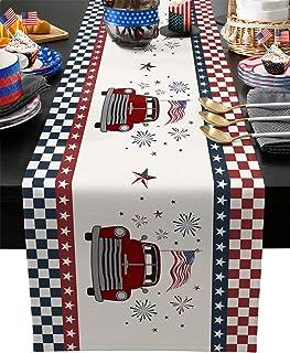 4th عطلة الجدول عداء القطن والكتان، شاحنة مزرعة تحمل العلم الأمريكي والعمل الناري احتفال يوم الاستقلال بياضات الطاولة غير ...