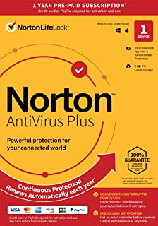 Norton AntiVirus Plus – Antivirus software for PC or Mac with Auto-Renewal - Includes Password Manager, Smart Firewall and PC Cloud Backup [Key Card]