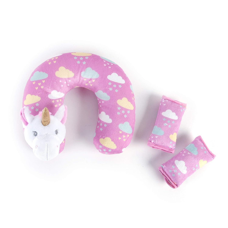 Tadpoles Tadpoles Travel Pillow & Strap Cover Set Unicorn, Pink, Pink