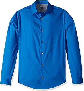 Calvin Klein Men's Dress Shirts Xtreme Slim Fit Solid Thermal Stretch