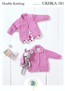 UKHKA Double Knitting Pattern for Baby Round Neck or Flat Collar Lace Detail Cardigan 181