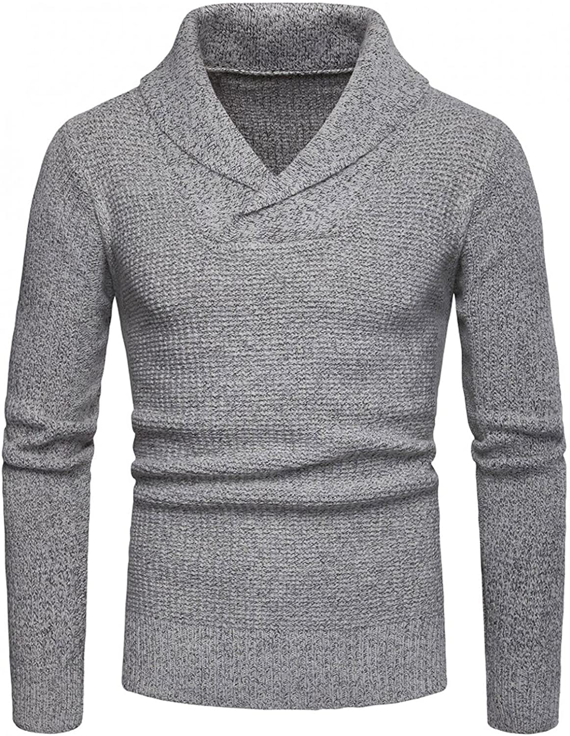Mens Knitted Pullover Sweaters Long Sleeve V-Neck Jumper Casual Stylish Knitwear Lightweight Turtleneck Sweatershirts