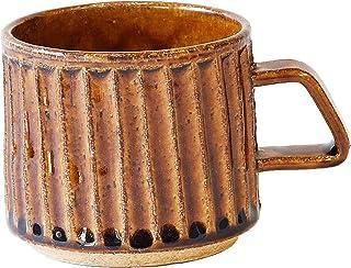 マルト水野陶器 マグカップ 茶 280ml あめ釉 そぎ角マグカップ AM-ST-095