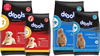 Drools Chicken and Egg Adult Dog Food, 3 kg with Free 1.2 kg and Adult(+1 Year) Dry Cat Food, Ocean Fish, 3 kg + 1.2 kg Free