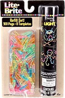 Lite-Brite Peg and Template Refill Pack - 100 Pegs and 8 Reusable Templates