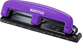 """Bostitch Office EZ Squeeze Reduced Effort 3-Hole Punch, 12 Sheets, Purple,black , 1.6"""" x 3"""" x 11"""""""