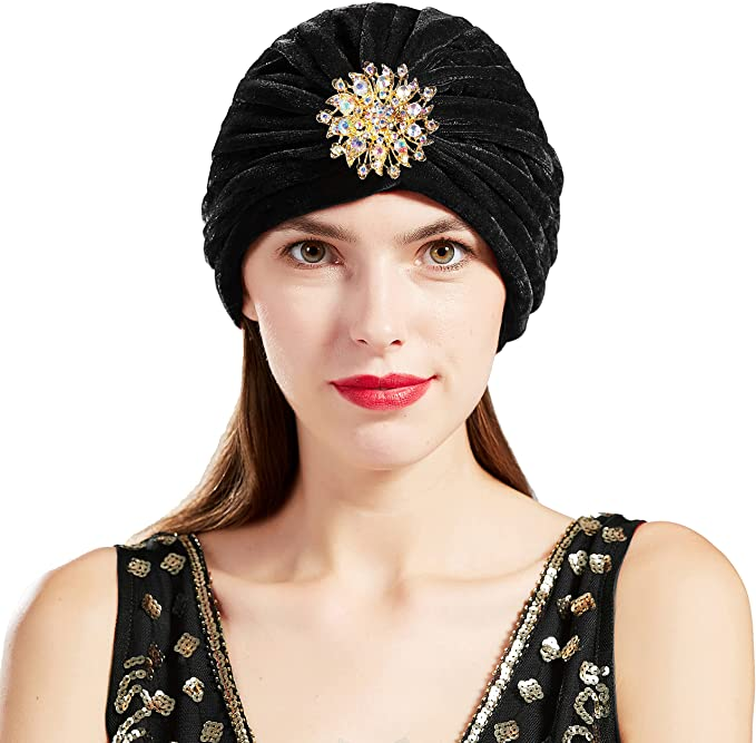 1950s Women's Hat Styles & History BABEYOND Womens Ruffle Turban Hat Knit Turban Headwraps with Detachable Crystal Brooch for 1920s Gatsby Party  AT vintagedancer.com