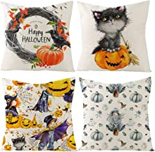 Halloween Throw Pillow Covers - 4-Pack Decorative Couch Throw Pillow Cases, Spooky Halloween Witch, Cat, Haunted House, Pumpkin and Bat Design, Festive Home Decor Cushion Covers, Fits 18 x 18 Pillows