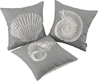 CaliTime Set of 3 Canvas Throw Pillow Covers Cases for Couch Sofa Home Decoration Mediterranean Sea Shells Print 18 X 18 Inches Medium Grey