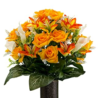 Sympathy Silks Artificial Cemetery Flowers - Realistic - Outdoor Grave Decorations - Non-Bleed Colors, and Easy Fit - Orange Rose and Sunset Tiger Lily Mix - with Flower Holder