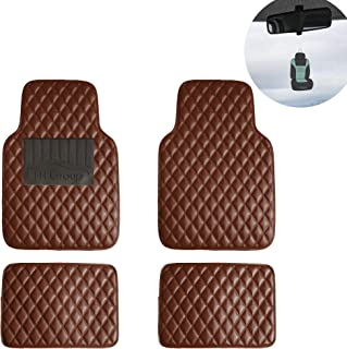 FH Group F12002 Luxury All-Season Heavy Duty Faux Leather Car Floor Mats Stripe Design w. High Tech 3-D Anti-Skid/Slip Backing, Brown w Universal fit for Cars, Auto, Trucks, SUV
