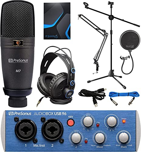 high quality PreSonus AudioBox 96 Studio USB high quality 2.0 Recording Bundle with discount Interface, Headphones, Microphone and Studio One Artist, Blucoil Boom Arm Plus Pop Filter, and Adjustable Microphone Tripod Stand sale